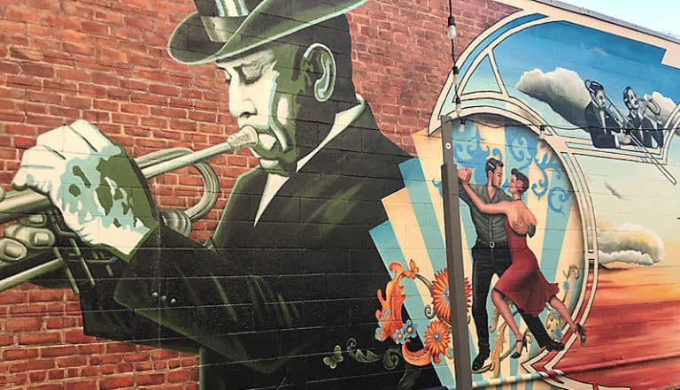 Mural of trumpet player