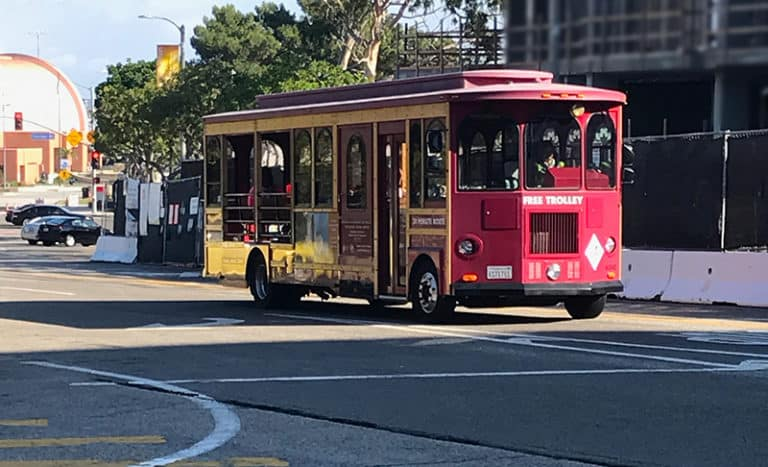 Red Trolly near 24 On Centre, new homes in Los Angeles, CA